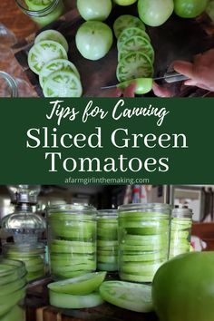 Canning Sliced Green Tomatoes for Frying | A Farm Girl in the Making Canning Green Tomatoes, Pickled Green Tomatoes, Fried Tomatoes, Canning Vegetables, Tomato Canning, Veggies, Green Tomato Pie, Green Tomato Recipes, Vegetable Recipes