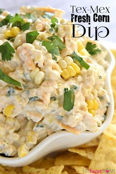 Tex-Mex Fresh Corn Dip ~ creamy, cheesy dip featuring fresh roasted corn, laced with cumin, a touch of jalapeño, and fresh cilantro.the perfect appetizer or snack for any summer cookout or get-together! Appetizer Dips, Appetizers For Party, Appetizer Recipes, Simple Appetizers, Parties Food, Dip Recipes, Mexican Food Recipes, Cooking Recipes, Fresh Corn Recipes
