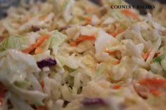 Country Coleslaw - Country Recipes Style When it comes to country recipes, you can always see the delicious flavors that each dish will have Relish Recipes, Soup Recipes, Yummy Recipes, Good Food, Yummy Food, Tasty, Homemade Coleslaw, Coleslaw Mix, Vegetable Side Dishes