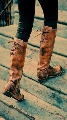 Bed Stu Manchester Tall Boot Distressed leather tall boot with darker edges. Lace-up detailing at upper calf. Short zipper on the inner sides. Over Boots, Long Boots, High Boots, High Heels, Long Brown Boots, Tall Leather Boots, Distressed Leather, Leather Bags, Tan Leather