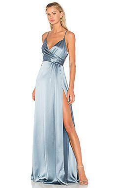 Jill Jill Stuart Faux Wrap Satin Gown In Buttercup Gala Dresses, Event Dresses, Satin Dresses, Sexy Dresses, Blue Dresses, Blue Colour Dress, Blue Silk Dress, Blue Gown, Blue Ball Gowns