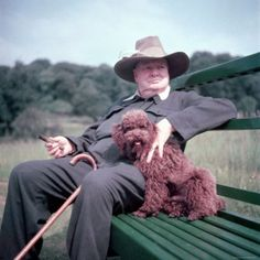 """Winston Churchill and his Poodle Rufus. Churchill once said, """"Dogs look up to you. Cats look down on you. Give me a pig. He just looks you in the eye and treats you like an equal."""""""