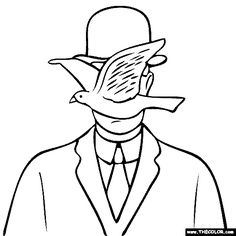 free coloring page of Rene Magritte painting - Man in a Bowler Hat. You be the master painter! Color this famous painting and many more! You can save your colored pictures, print them and send them to family and friends! Rene Magritte, Magritte Paintings, Famous Art, Free Coloring Pages, Art Plastique, Your Paintings, Oeuvre D'art, Art History, Line Art