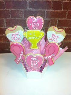 Breast cancer bouquet #cookiesbydesignokc