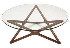 Star Glass Coffee Table  on OneKingsLane.com Hardwood and walnut form to makeup a beautiful star-shaped base on this contemporary coffee table. Topped with half inch tempered glass.