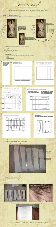 For elsa cosplay! Corset Pattern Drafting Tutorial by ~KellaxProductions on deviantART Steampunk Pattern Drafting Tutorials, Sewing Tutorials, Techniques Couture, Sewing Techniques, Pattern Cutting, Pattern Making, Sewing Clothes, Diy Clothes, Sewing Hacks