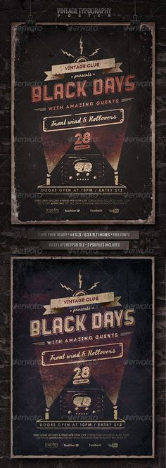 Vintage Typography Poster by punedesign Vintage Typography Poster* This poster can be used to promote Rock gigs, Alternative events, Acoustic gigs, club gigs, indie, folk
