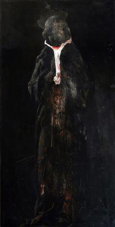 Nicola Samorì - 'Corredo Carnivoro (Carnivore Kit)' - 2013, oil on linen, 200 x 100 cm