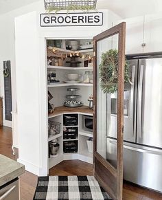 ✔ 20 perfect house interior design to transfrom your home 57 Kitchen Pantry Design, Kitchen Redo, Home Decor Kitchen, Home Kitchens, Kitchen Remodel, Farm Kitchen Ideas, Kitchen With Corner Pantry, Kitchen Tools, Corner Pantry Cabinet