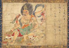 辟邪絵(奈良国立博物館)で牛頭天王をつかんで食べる天刑星