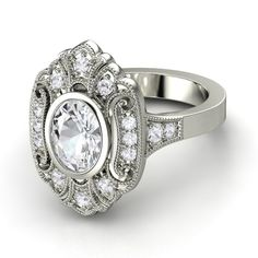 Oval White Sapphire Palladium Ring with White Sapphire - Arya Ring
