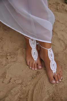 Beach wedding White Crochet wedding Barefoot Sandals, Nude shoes, Foot jewelry, Bridal, Victorian Lace, Sexy, Yoga, Anklet $