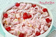 Cherry Fruit Salad - fruit, marshmallows, nuts, cream cheese and whipped topping -YUM!  Sweet enough to be served as a dessert