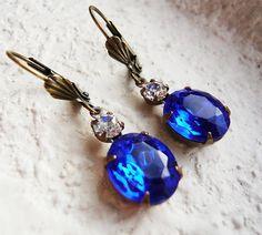 Sapphire Blue Swarovski Earrings by MaruMaru on Etsy, $22.95