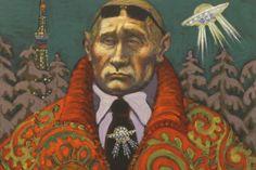 Das Kostüm des Präsidenten: Putin in einer Schau mit Propagandakunst