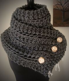 The Eleanor Scarf - Wool Blend Bulky Knit Scarf with Reclaimed Wood Buttons - Custom Color. $65.00, via Etsy.