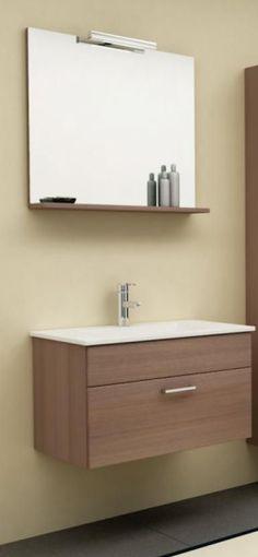 Kolpa-San Pixor 61 II fürdőszoba alsó szekrény mosdóval, tükörrel (dió) - SzaniterPláza