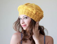 Mustard Knit Tam Hat for women, Adult beret, ...