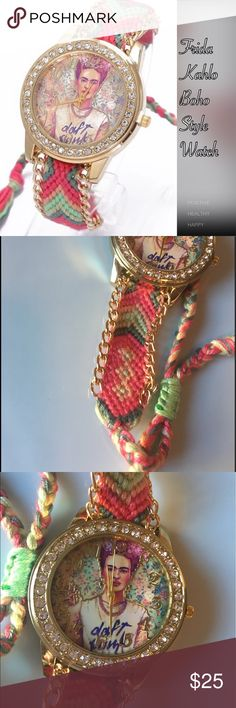 Frida Kahlo Boho Daft Punk Watch Quartz movement round watch trimmed in clear rhinestones. Get your boho (or hippie style) vibe on with this fashion worthy bracelet style watch. Pretty woven style band ending in tassels. Vibrant colors full of happiness! Celebrate Frida Kahlo in her Daft Punk tee! Band length 23 cm, width 22 mm. The actual watch you will receive is in the last 7 photos, the 1st photo is a stock photo. Accessories Watches