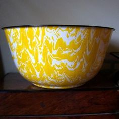 Yellow and White  Vintage Enamelware Bowl