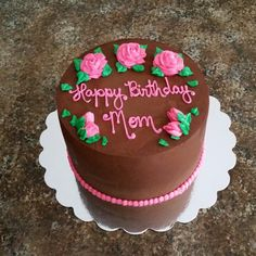 Chocolate ganache with pink buttercream roses