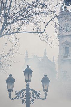 Foggy morning in London.