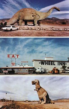 Visited the dinosaurs in Cabazon. Who can forget the diner and dinos from Pee Wee's big Adventure! Just tell em large Marge sent ya! Palm Springs Map, Cabazon Dinosaurs, Roadside Attractions, Road Trippin, Retro Art, Abandoned Places, Find Art, Framed Artwork, Places To Go
