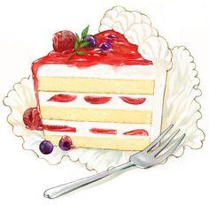 小红莓奶油蛋糕@执念不成魔采集到水果(91图)_花瓣插画/漫画