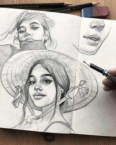 Girl Drawing Sketches, Cool Art Drawings, Realistic Drawings, Drawings Of Faces, Portrait Sketches, Arte Peculiar, Arte Sketchbook, Drawing People, Cute Art