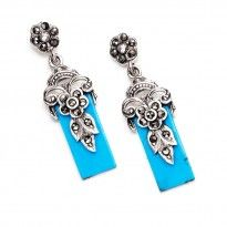 Art Deco Roman Marcasite and Turquoise Sterling Silver Earrings