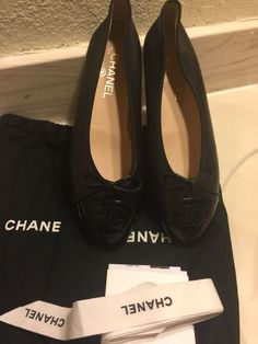 2fd797b3ece98 NEW AUTHENTIC CHANEL WOMEN BLACK LEATHER 94305 FLATS SHOES SZ 40.5 #fashion  #clothing #shoes #accessories #womensshoes #flats (ebay link)