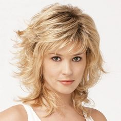 Graceful Brown Ombre Blonde Capless Stylish Medium Side Bang Fluffy Curly Synthetic Wig For Women