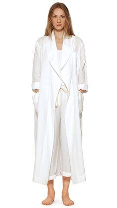 WOMEN SPRING SUMMER 15 - White linen dressing gown, white cotton vest, white linen pj trouser