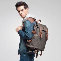 Waterproof Canvas Travel Backpack Daypack School Backpack Men's Backpack Cool Hiking Backpack FB14