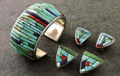 Cuff and earrings.   Charles Loloma. Silver, turquoise, lapis lazuli, wood, and coral.  ca. 1970
