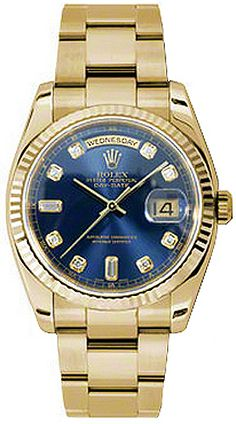 118238  ROLEX OYSTER PERPETUAL DAY-DATE MENS LUXURY WATCH    Usually ships within 4 weeks - FREE Overnight Shipping- NO SALES TAX (Outside California) - WITH MANUFACTURER SERIAL NUMBERS- Blue Diamond Dial - 10 Diamonds Set on Dial - Solid 18K Yellow Gold Fluted Bezel - Day and Date Features -   Self Winding Automatic Chronometer Movement- 3 Year Warranty- Guaranteed Authentic - Certificate of Authenticity- Manufacturer Box