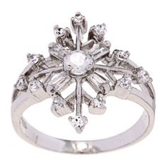 @Overstock.com - La Preciosa Sterling Silver CZ Snowflake Ring - Clear cubic zirconia snowflake ringSterling silver jewelry Click here for ring sizing guide  http://www.overstock.com/Jewelry-Watches/La-Preciosa-Sterling-Silver-CZ-Snowflake-Ring/6432537/product.html?CID=214117 $38.09