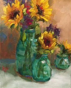 "Daily+Paintworks+-+""Sunflower+Medley""+-+Original+Fine+Art+for+Sale+-+©+Krista+Eaton"