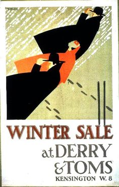 Winter Sales at Derry & Toms' colour lithograph poster designed by Edward McKnight Kauffer, 1919.