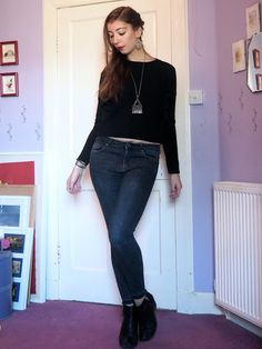 Back to Black | outfit of black shrug jacket & short top, grey skinny jeans & black heeled ankle boots | Just Muddling Through Life