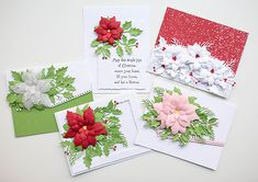 Online Classes Poinsettia Cards, Christmas Poinsettia, Christmas Cards, Holiday Cards, Holly Leaf, Tiny Flowers, Pretty Cards, Card Kit, Flower Cards
