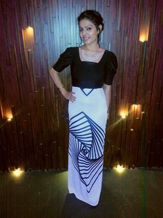 An absolutely gorgeous customised black and white maxi dress.