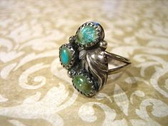 Vintage Sterling Silver Old Pawn 3 Stone by charmingellie on Etsy, $29.00