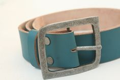 Turquoise leather belt - perfect gift for boyfriend, groomsmen, best man, husband, personalize with name, customize phrase engrave. $25.00, via Etsy.