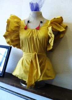 Oversize ruffle sleeve blouse in mustard!  Great fall color!