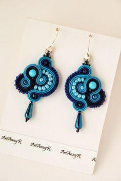 I like blue Shibori, Soutache Earrings, Drop Earrings, Clay Design, My Precious, Like Me, Beaded Jewelry, Jewerly, Beads