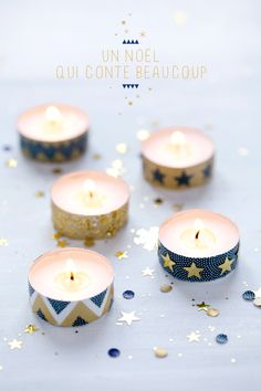 use washi tape to decorate simple tea light candles for a party
