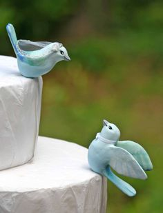 Blue Gray Tanager Love Birds Wedding Cake Topper by TeaOlive