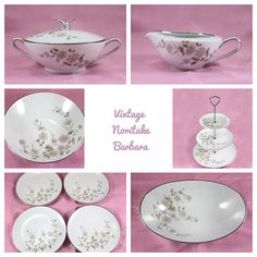 Noritake Barbara 9-Piece Serving Set, 3-Tier Tray, Creamer, Sugar with Lid, 4 Bread/Butter Plates, Round and Oval Serving Bowl, 1960s