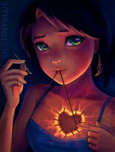 Cute anime art by UK based anime artist Alice de Ste Croix. Title: Sew closed my soul.